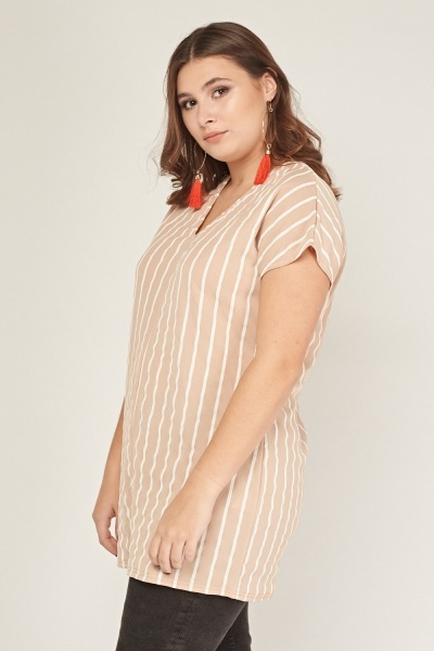 1cf5a9dffee33 V-Neck Pinstriped Top - Just £5