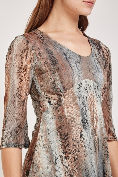 Faded Print Sheer Tunic Dress