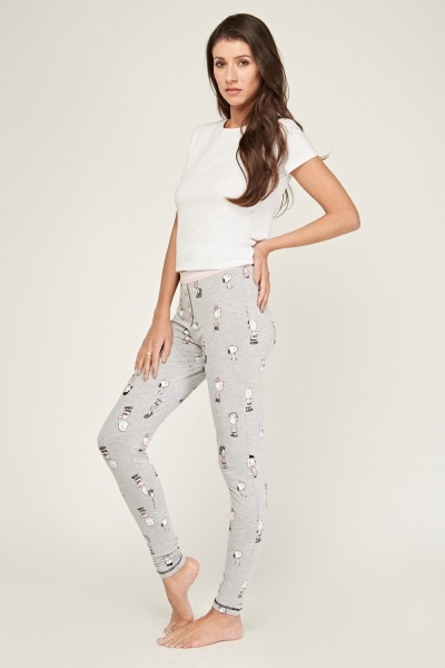 Snoopy Print Lounge Pants Grey Multi Just 163 5