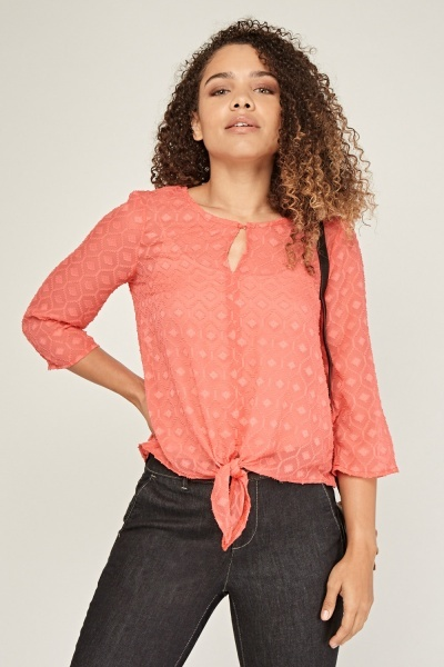 Textured Tie Up Sheer Blouse