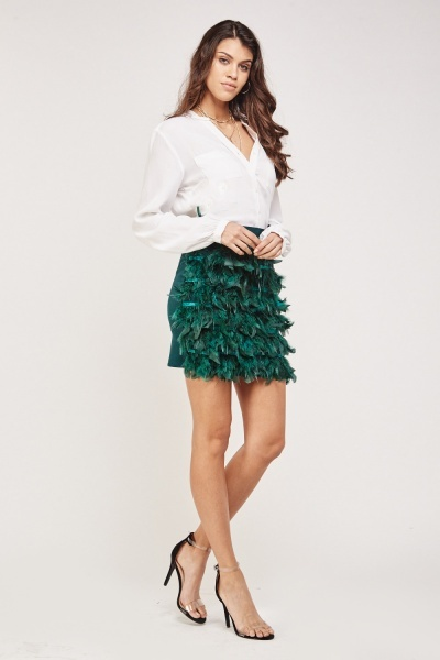Feather Front Mini Skirt 3 Colours Just 163 5