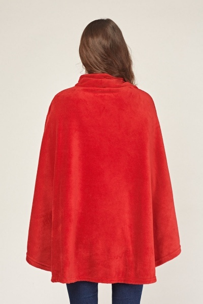 Soft Knit Red Poncho