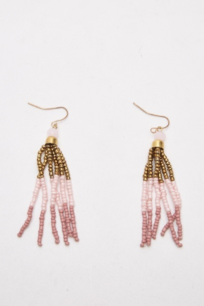 Beaded Fringed Necklace And Earrings Set