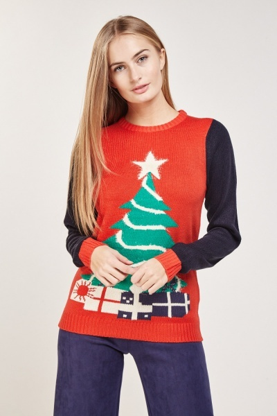 Christmas Tree Colour Block Jumper