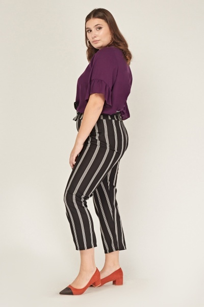 Stripe Tie Up Elasticated Trousers