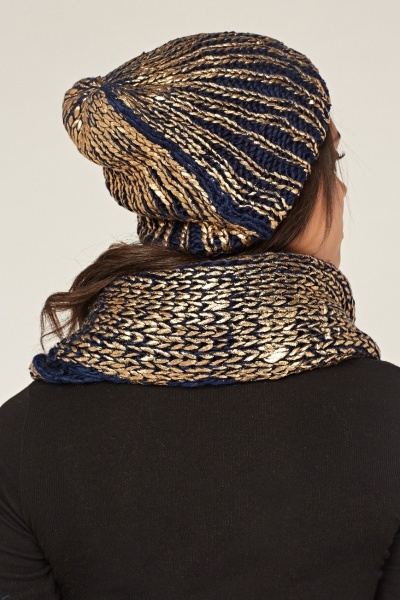Metallic Knitted Snood And Hat Set