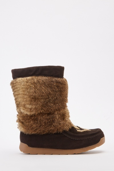 Beaded Front Faux Fur Ankle Boots