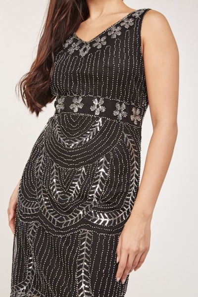Embroidered Sleeveless Shift Dress