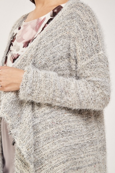 Eyelash Knit Asymmetric Cardigan