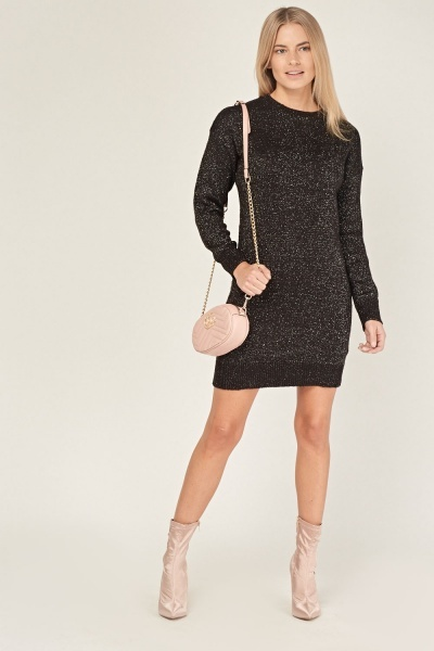Metallic Knitted Jumper Dress