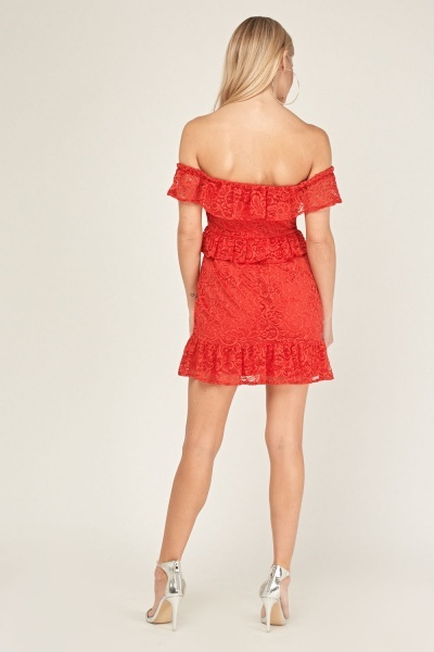 Off Shoulder Laced Mini Dress