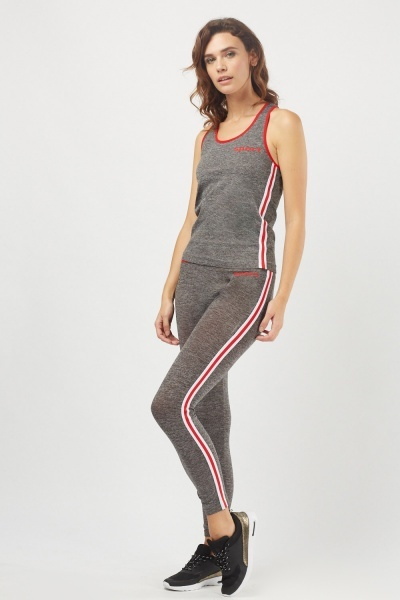 Striped Side Sport Tank And Leggings Set