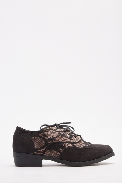 Contrast Lace Overlay Shoes