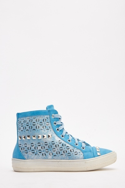 Laser Cut Studded High Top Trainers