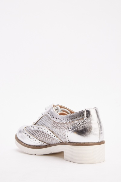 Mesh Insert Metallic Lace Up Shoes