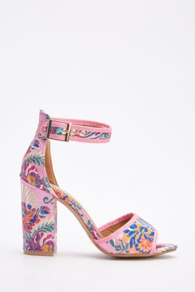 Oriental Embroidered Heeled Sandals