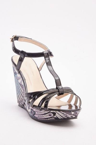T-Strap Printed Wedge Sandals