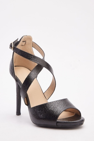 Textured Cross Strap Heels