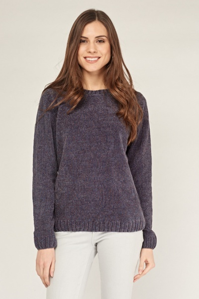 Crew Neck Chenille Knit Sweater