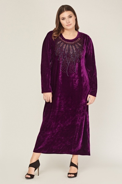 Embellished Velveteen Dress