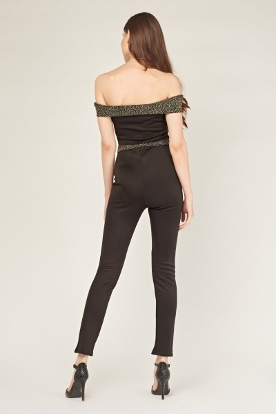 Glittered Off Shoulder Skinny Jumpsuit