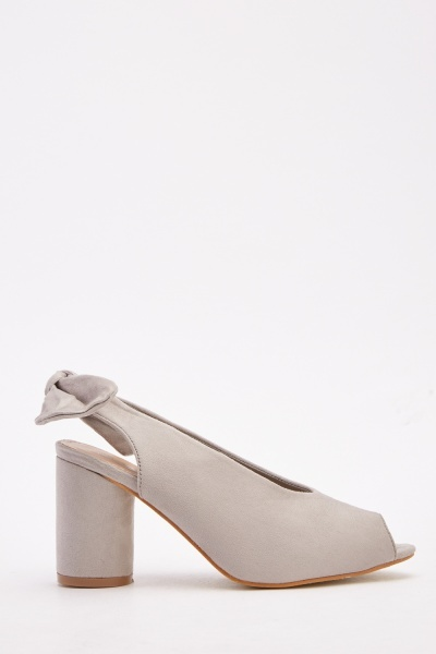 Block Heeled Slingback Open Toe Shoes