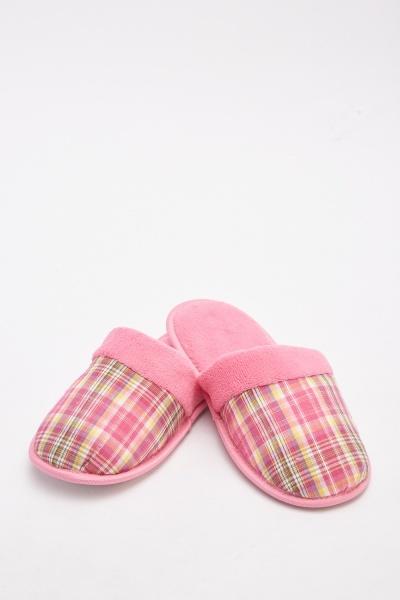 Tartan Slip-On Borg Slippers