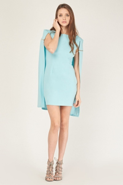 Cape Overlay Bodycon Dress