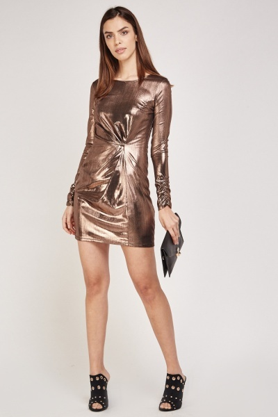 Pleated Metallic Mini Dress