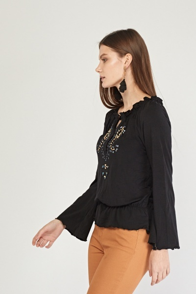 Ruffle Embellished Boho Top
