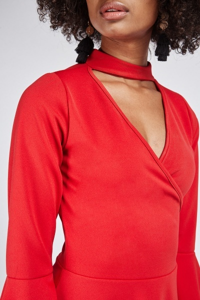 Choker Neck Wrap Swing Dress