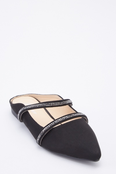 Embellished Twin Strap Flats