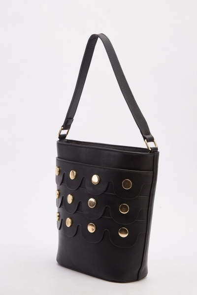 Faux Leather Studded Front Tie Bag