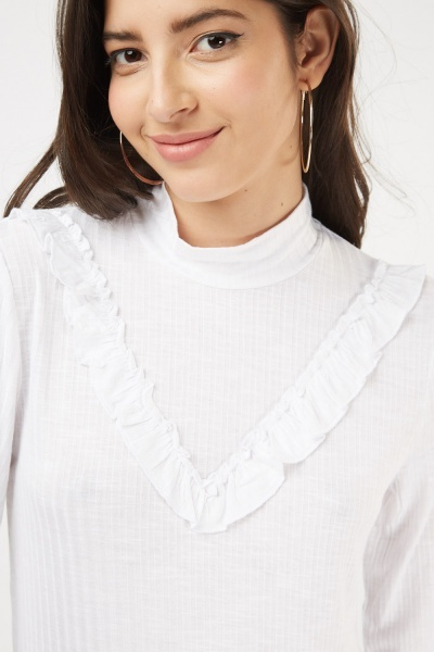 Off White Ruffle Ribbed Top
