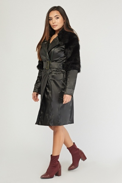 Faux Fur Trim Contrasted French Coat
