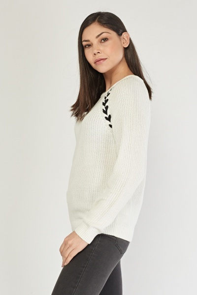 Lace Up Chunky Knit Jumper