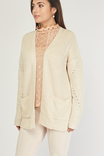 Open Front Chunky Knit Cardigan