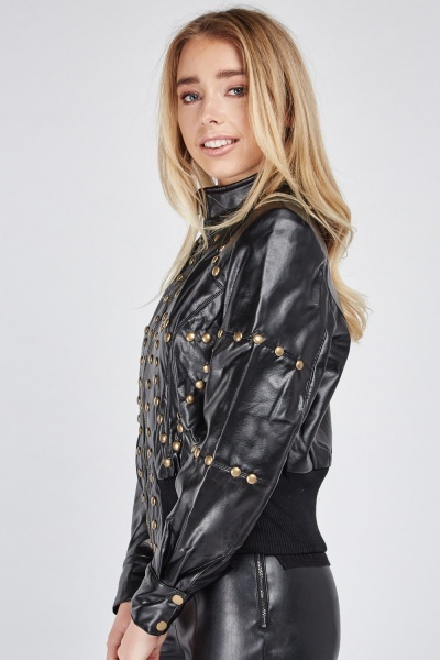 Ribbed Hem Studded Bomber Jacket