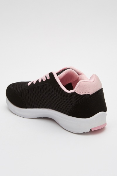 Black Contrast Low Top Trainers