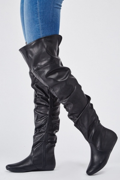 Faux Leather Ruched Knee High Boots