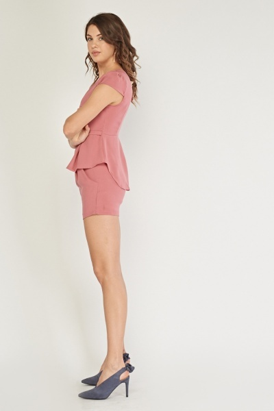 Belted Dusty Pink Top And Short Set