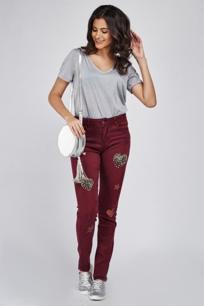 Embellished Embroidered Skinny Jeans
