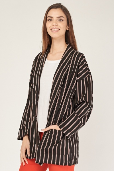 Lapel Front Striped Blazer