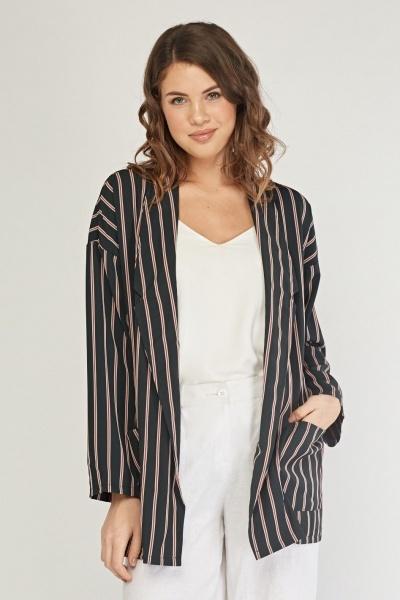 Lapel Front Striped Blazer