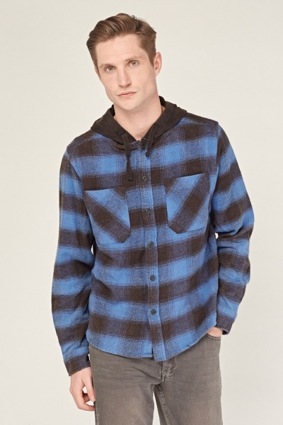Hooded Checked Shirt