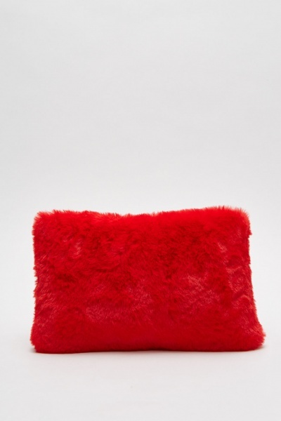 Studded Faux Fur Clutch Bag