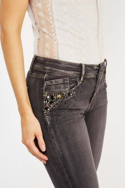 Low Waist Embellished Jeans