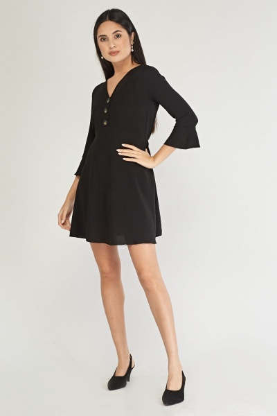 Button Trim Tunic Dress
