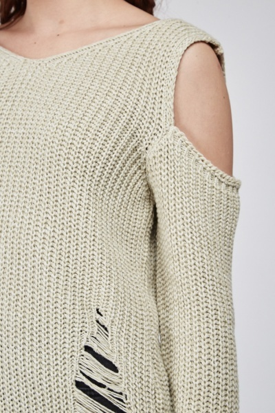 Cold Shoulder Knitted Distressed Jumper