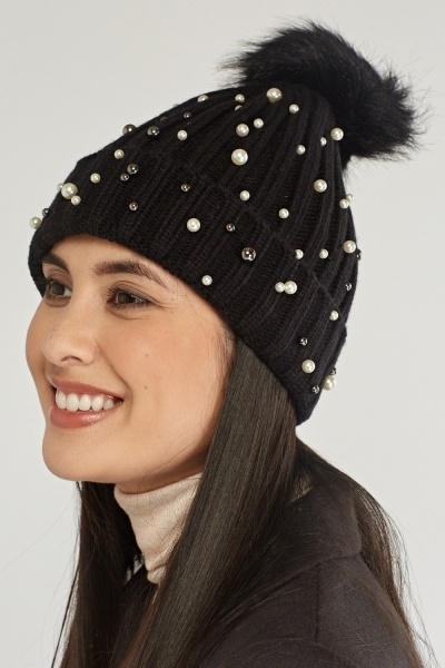 Faux Pearl Embellished Beanie Hat